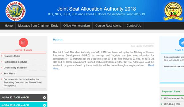 JoSAA 2018