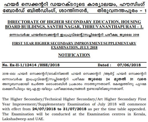 Kerala DHSE First Year Improvement-Supplementary Time Table