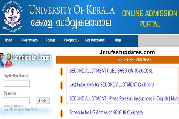 Kerala University UG Second Allotment Results