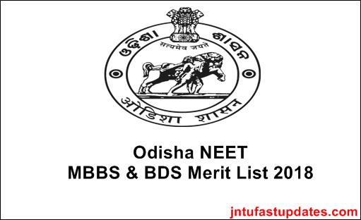 Odisha NEET MBBS BDS Merit List 2018