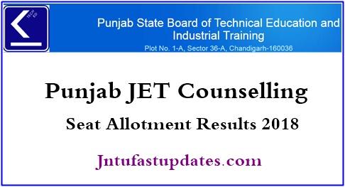 Punjab JET 1st Round Seat Allotment 2018 Results