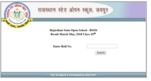 RSOS 10th Result 2018 Announced – Rajasthan State Open School Secondary Result @ rsos.rajasthan.gov.in