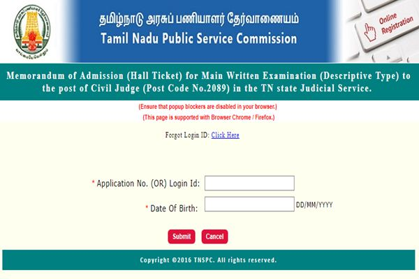 TNPSC Civil Judge Main Hall Ticket 2018