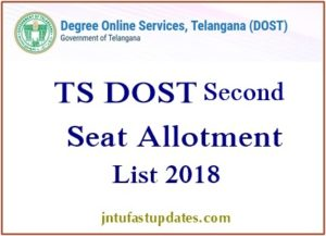 Telangana DOST Second Seat Allotment 2018 Results Released – TS Degree 2nd Allotment List @ Dost.cgg.gov.in