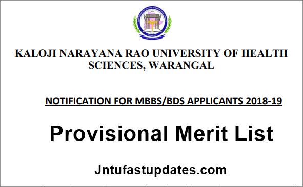 TS Neet Provisional merit List 2018