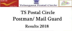 Telangana Postal Circle Postman/ Mail Guard Results 2018 Released – Check Merit List, Cutoff Marks @ ts.postalcareers.in