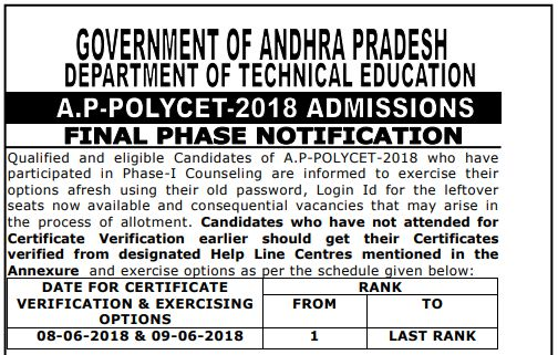 ap polycet final phase counselling notification 2018