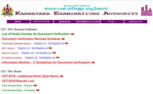 kcet Document Verification 2018