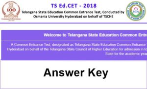 TS Edcet Answer Key 2018 With Q.P and Responsive Sheets @ edcet.tsche.ac.in
