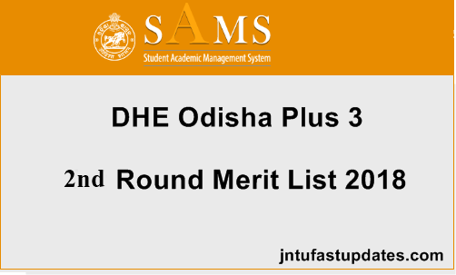 DHE SAMS Odisha Degree +3 2nd Round Selection Merit List 2018