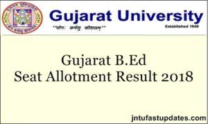 Gujarat University B.Ed 1st Round Result 2018 Released @ eform.gujaratuniversity.ac.in