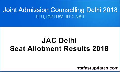 JAC Delhi Seat Allotment Results 2018