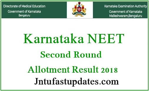 Karnataka NEET 2nd Round Seat Allotment Results 2018