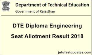 Rajasthan DTE Diploma Lateral Entry Merit List 2018 – Polytechnic Provisional Merit List