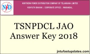 TSNPDCL JAO Answer Key 2018 – Junior Accounts Officer Key PDF For All Sets Question Papers @ tsnpdcl.in