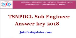 TSNPDCL Sub Engineer Answer Key 2018 – Download Electrical Solutions, Cutoff Marks @ tsnpdcl.cgg.gov.in