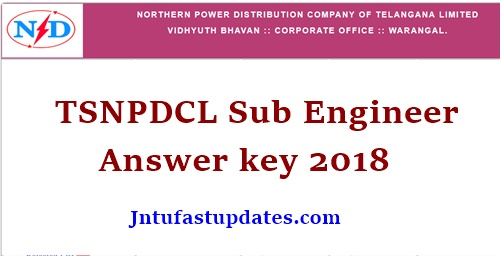 TSNPDCL Sub Engineer Answer Key 2018
