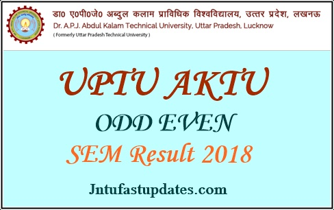 UPTU/ AKTU B.Tech ODD Even Semester Results 2018