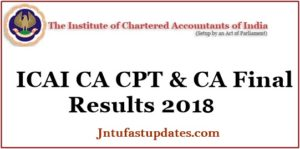 ICAI CA CPT Results 2018 & CA Final Results June Released – CA Foundation Marks List & Pass Percentage @ icai.nic.in