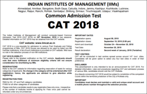 CAT 2018 Notification Apply Online Here – Exam Dates, Registration/ Application Form Fees @ iimcat.ac.in