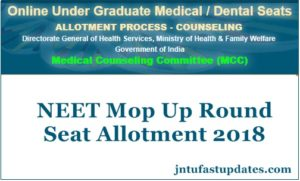 NEET Mop Up Round Seat Allotment Results 2018 Now Available at mcc.nic.in