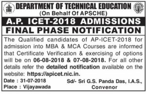 AP ICET 2018 Final Phase Counselling Dates Rank Wise, Certificate Verification @ apicet.nic.in