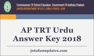 AP TRT Urdu Answer Key 2018 Released- SGT (Urdu Medium) 16th Sept Key @ aptrt.apcfss.in