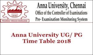 Anna University Time Table Nov 2018 For UG/PG All Regulations @ annauniv.edu