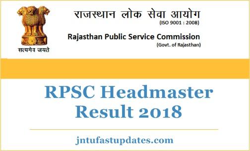 rajasthan headmaster results 2018