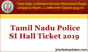 TNUSRB SI Hall Ticket 2019