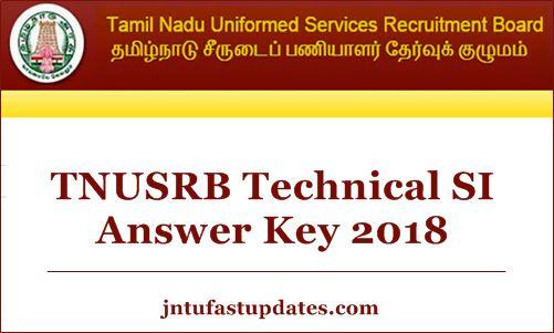 TNUSRB Technical SI Answer Key 2018