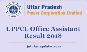 UPPCL Office Assistant Result 2018