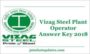 Vizag Steel Plant Operator Answer Key 2018