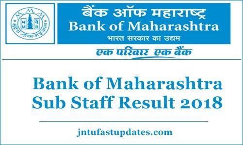 Bank of Maharashtra Sub Staff Result 2018
