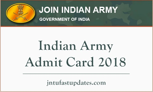 Indian Army Admit Card 2018