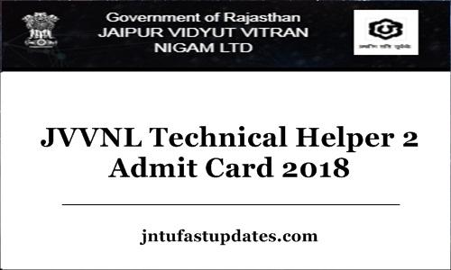 JVVNL Technical Helper 2 Admit Card 2018