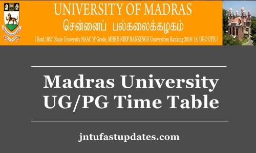 Madras University UG/PG Time Table 2018