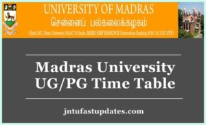 Madras University Time Table 2019