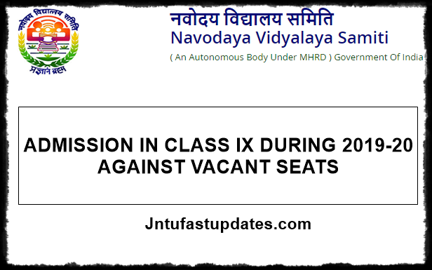 Navodaya 9th Class Admission Form 2019