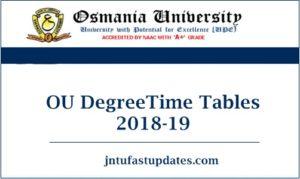 OU Degree Time Tables 2018-19