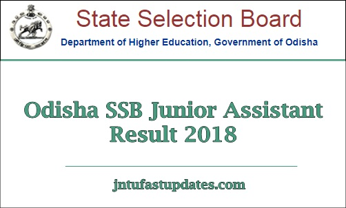 Odisha SSB Junior Assistant Result 2018