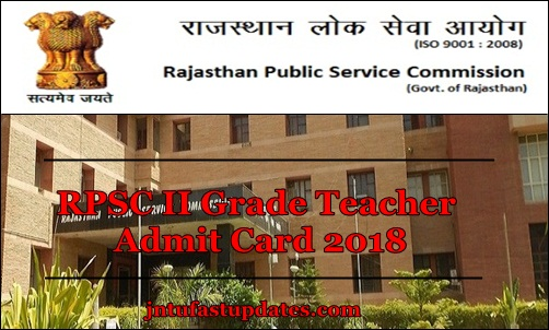 RPSC 2nd Grade Teacher Admit Card 2018