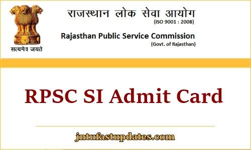 RPSC SI Admit Card 2021