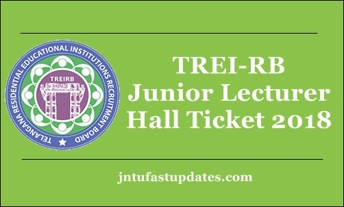 TREIRB Junior Lecturer Hall Ticket 2018