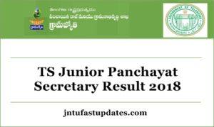 TS Junior Panchayat Secretary Results 2018