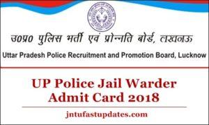UP Police Jail Warder Admit Card 2018