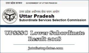 UPSSSC Lower Subordinate Result 2018