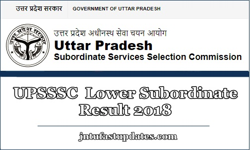 UPSSSC Lower Subordinate Result 2018