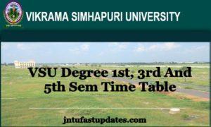 VSU Degree 1st, 3rd, 5th Sem Time Table 2018