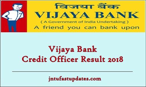 Vijaya Bank Credit Officer Result 2018